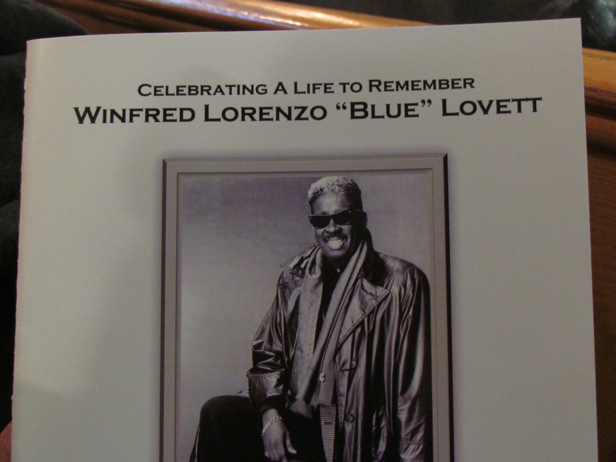 "The life of Winfred Lorenzo ""Blue"" Lovett, of The Manhattans singing group was celebrated by hundreds of people in Jersey City, New Jersey."