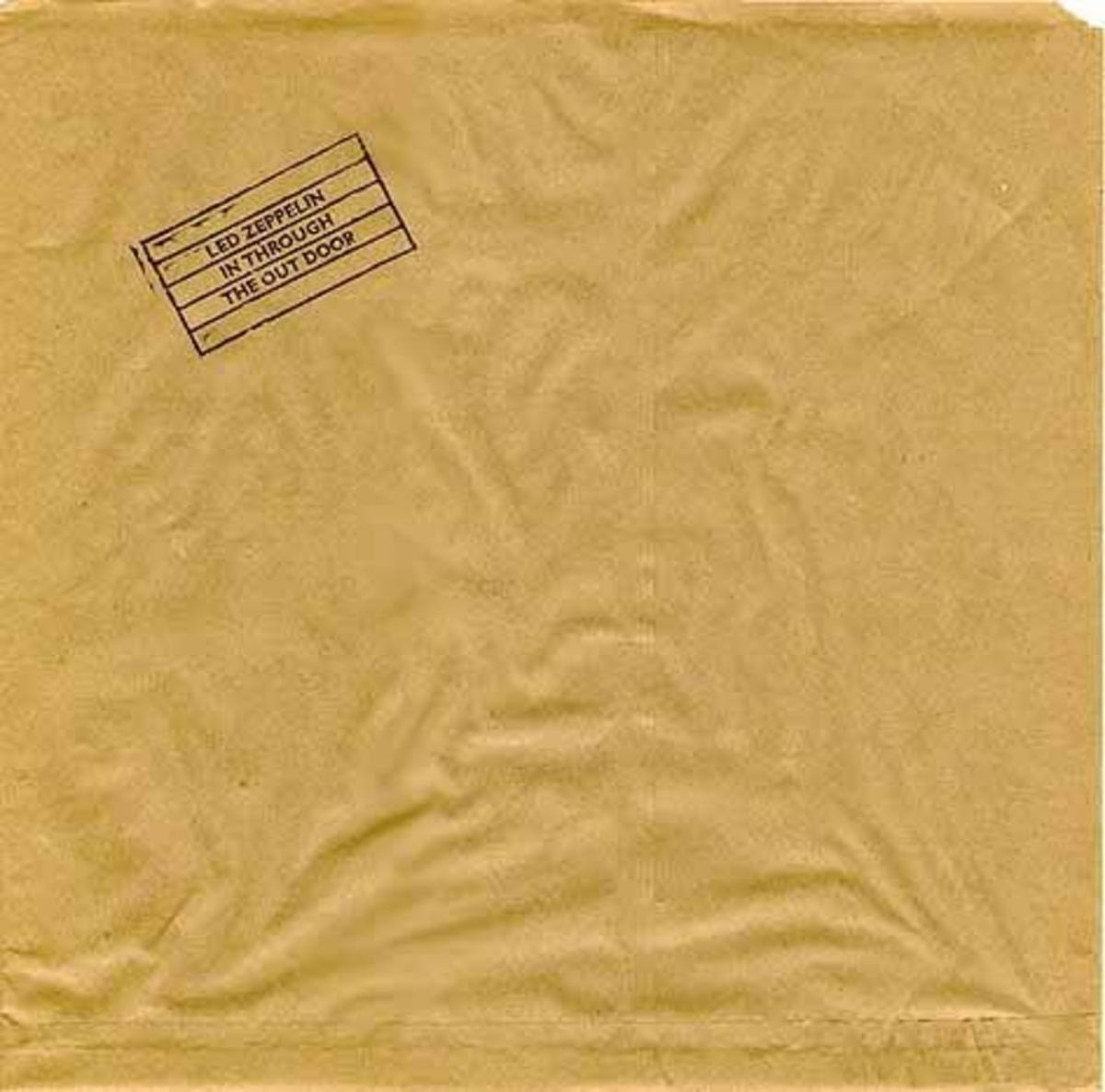 "Brown Paper Bag Slipcover for Led Zeppelins ""In Through the Out Door"" (front)"