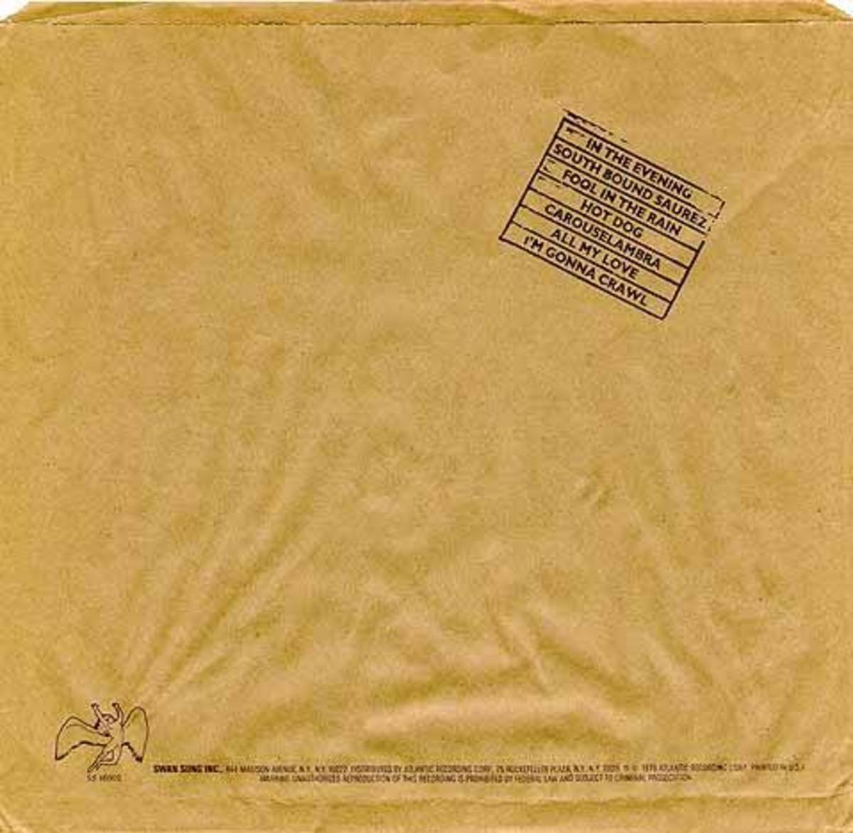 "Brown Paper Bag Slipcover for Led Zeppelins ""In Through the Out Door"" (back)"