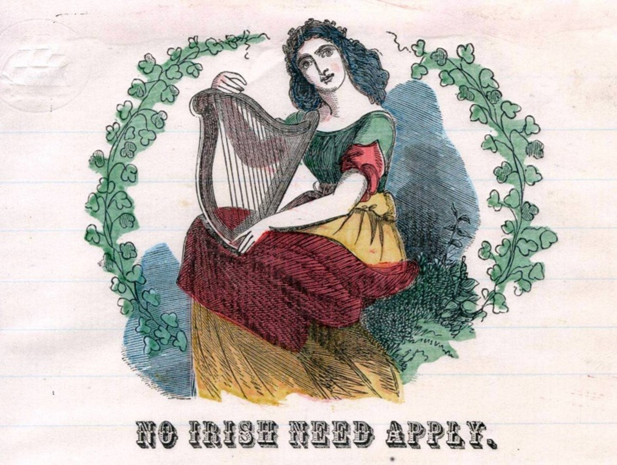 A poem written by an Irish immigrant in the 19th century to describe the discrimination she they encountered. Click where it says Source for a larger picture you may zoom in on to read the words.