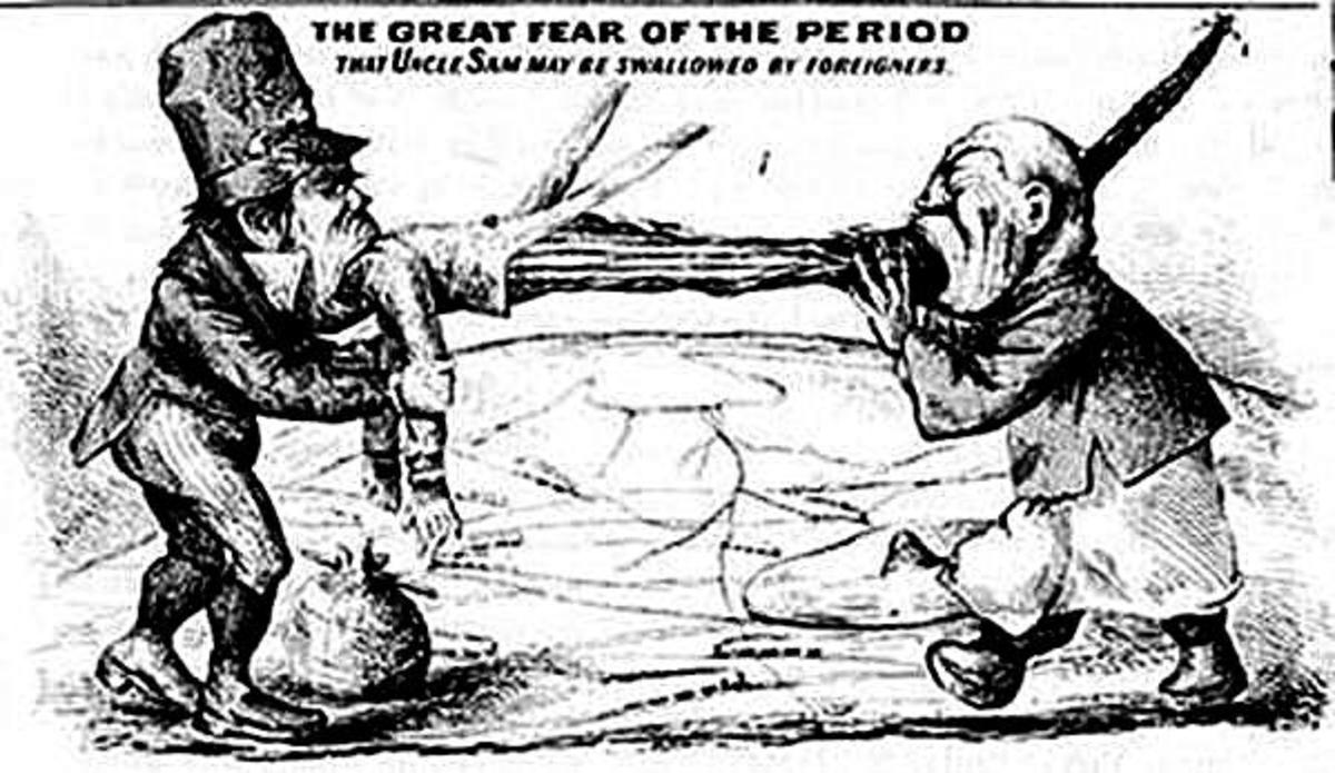 Uncle Sam May Be Swallowed By Foreigners - 19th century cartoon demonstrating fear of immigrants, specifically the Irish and Chinese