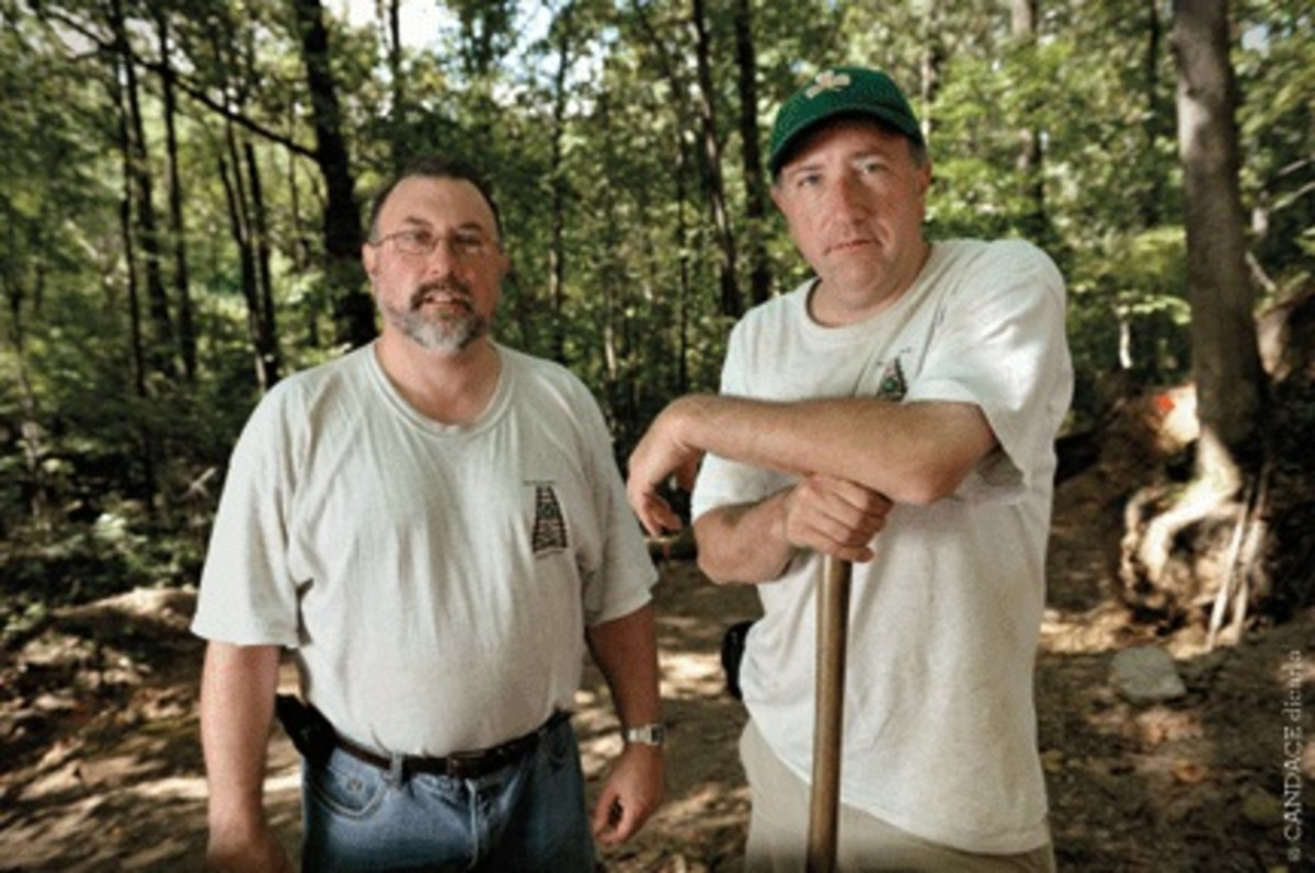 The Watson brothers at the Duffy's Cut dig site.