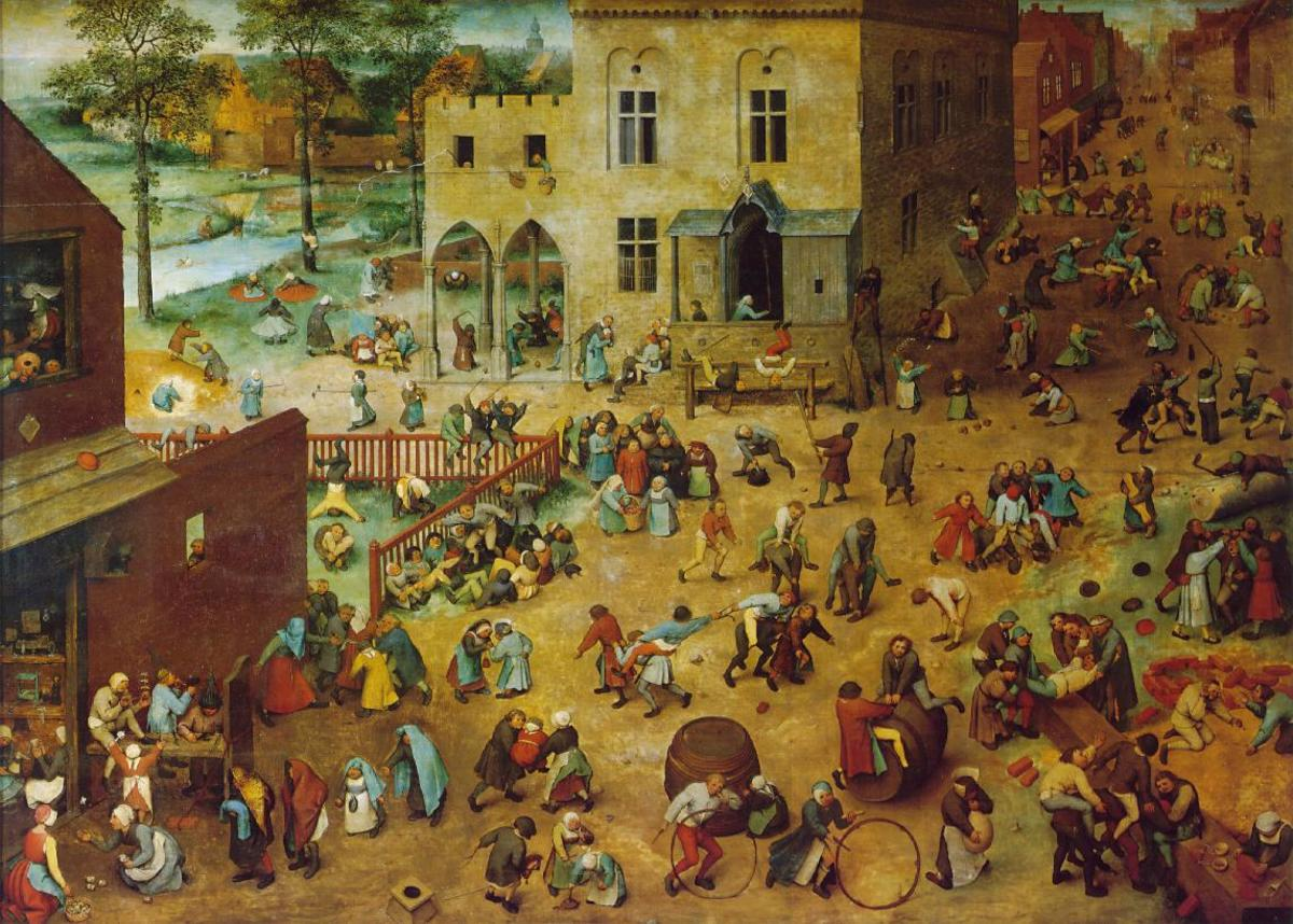 "The painting ""Children's Game"" depicts various children playing a wide variety of games, and playing with toys of a wide variety of types."