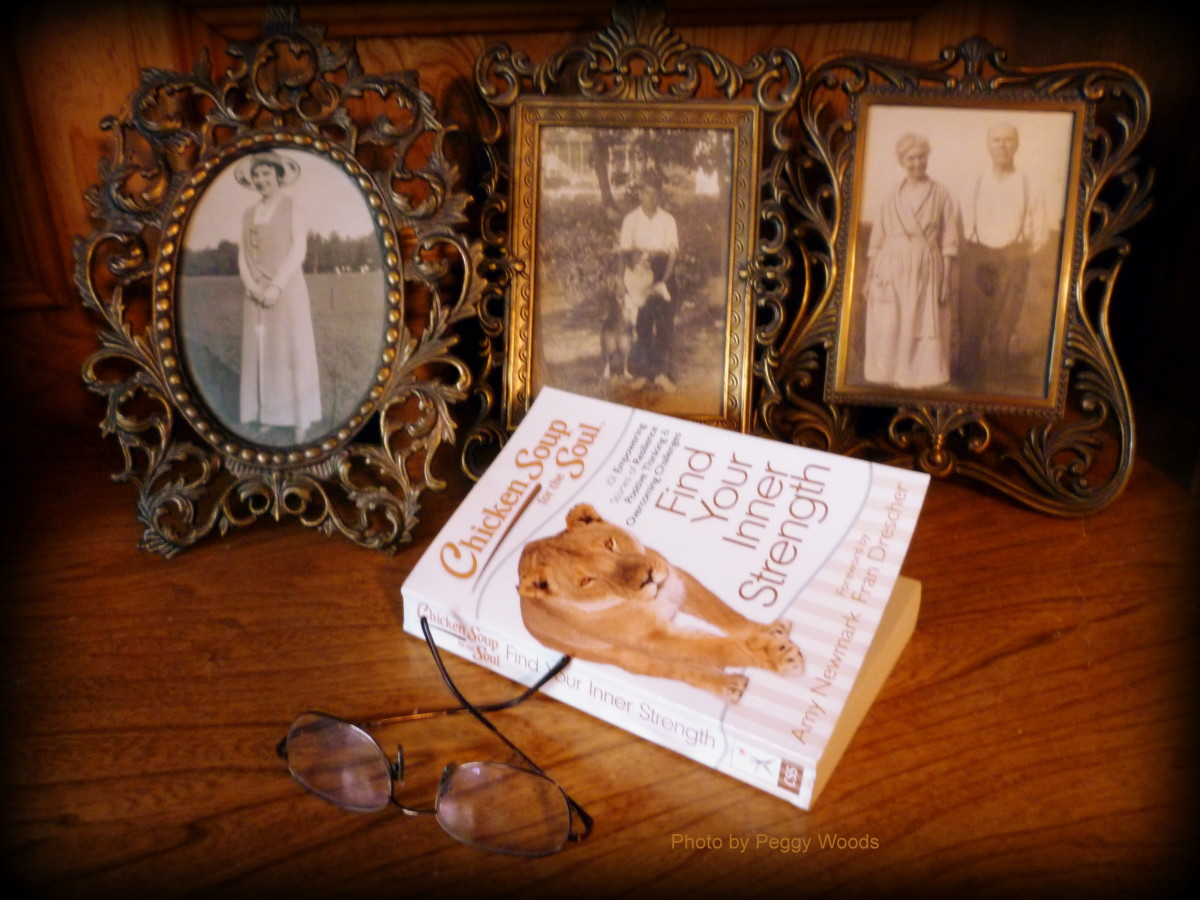 Family photos & the Book titled Chicken Soup for the Soul