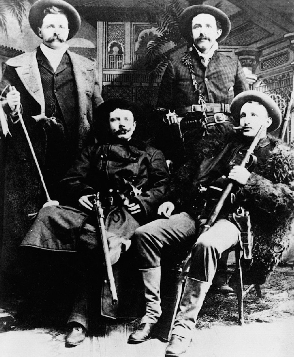 The early James-Younger Gang.  L-R; Frank James, Jessie James, Cole Younger, and Jim Younger