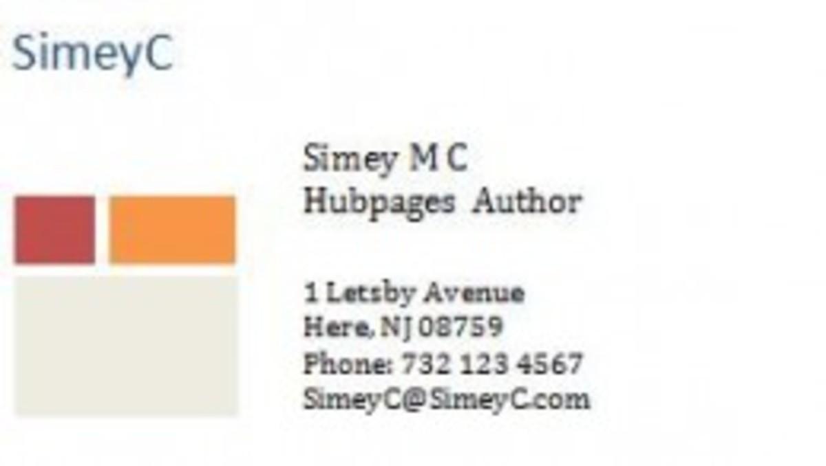 A sample business card