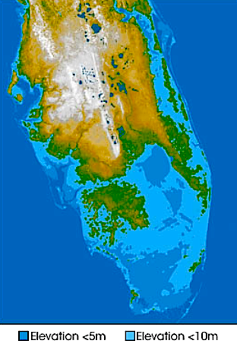 South Florida, 5- and 10-meter sea level rise.  Image courtesy popsci.com, modified by author.