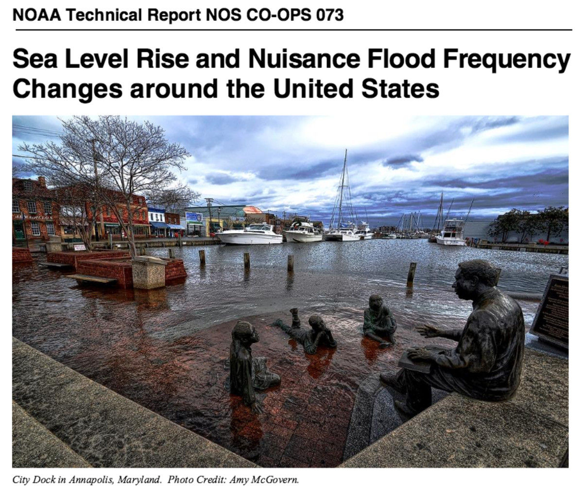 NOAA coastal flooding report cover.  Image courtesy NOAA; photo by Amy McGowan.