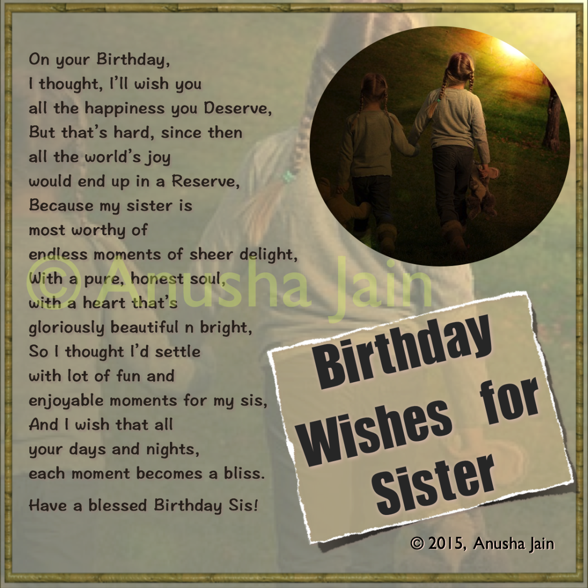 Happy Birthday Sister - Quotes, Poems - Sincere & Funny ...