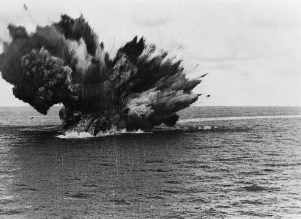 The HMS Barham's magazine exploding.