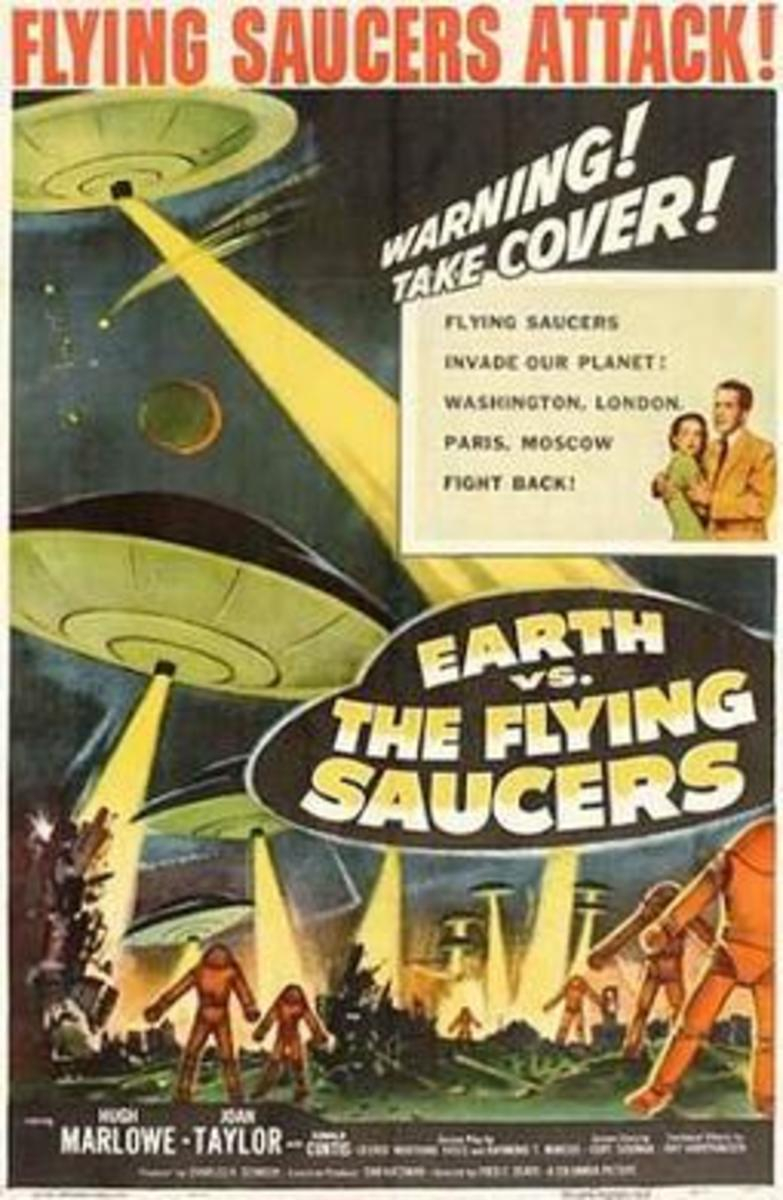 In the movie Earth Vs. the Flying Saucers the scene of a US destroyer being sunk was footage of the sinking of the HMS Barham.