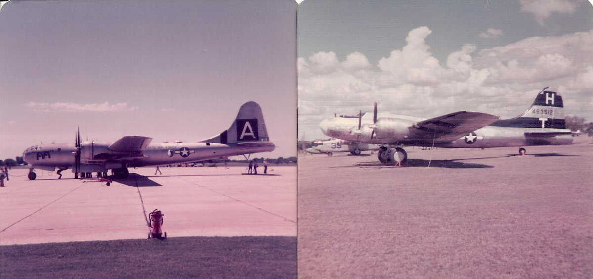 A B-29 Superfortress, left; A B-17 Flying Fortress Right.
