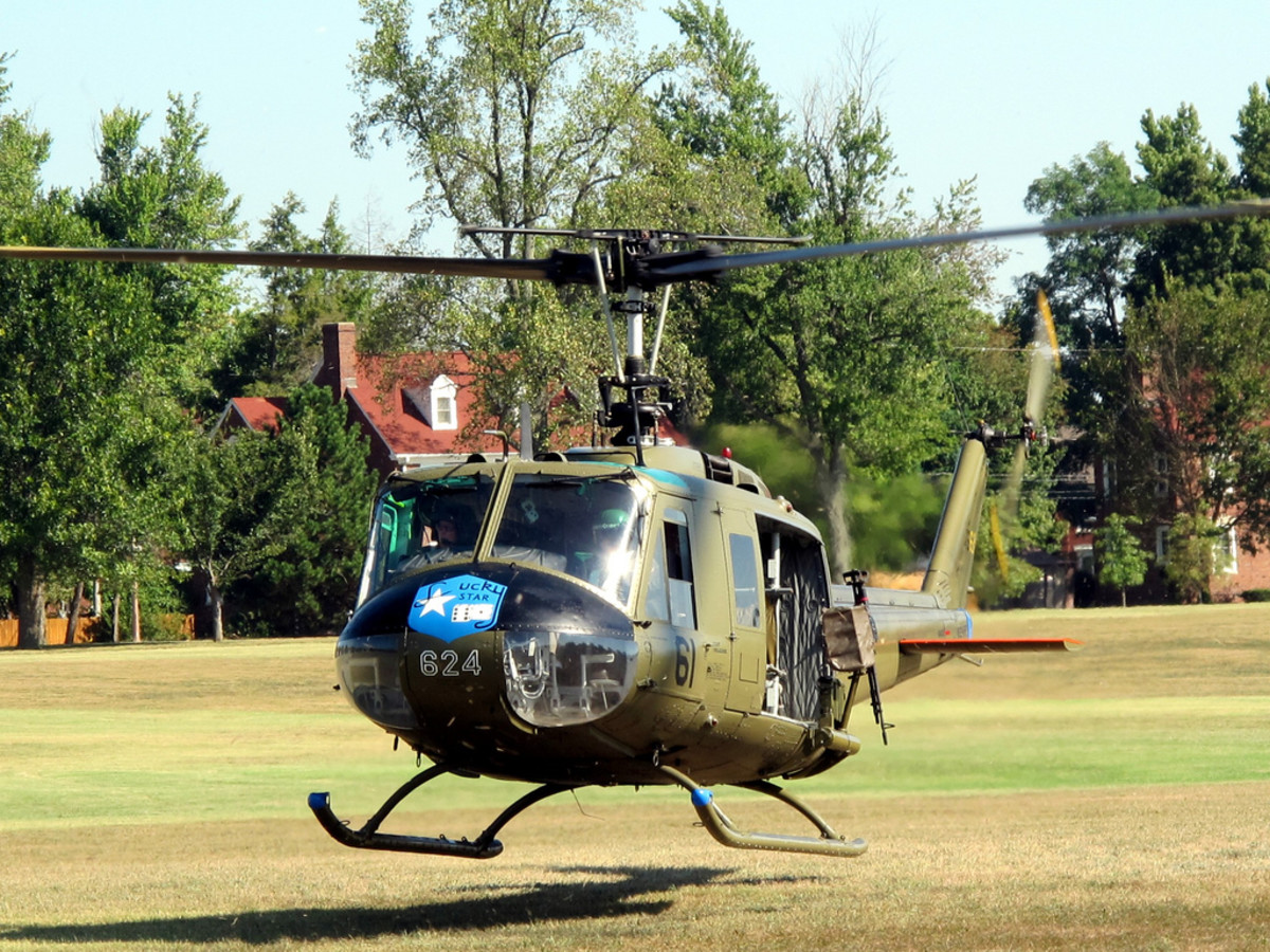 Bell UH-1 Iroquois is a military helicopter powered by a single turboshaft engine, with two-bladed mane and tail rotors. The helicopter was developed by Bell Helicopter to meet the United States Army's requirement.
