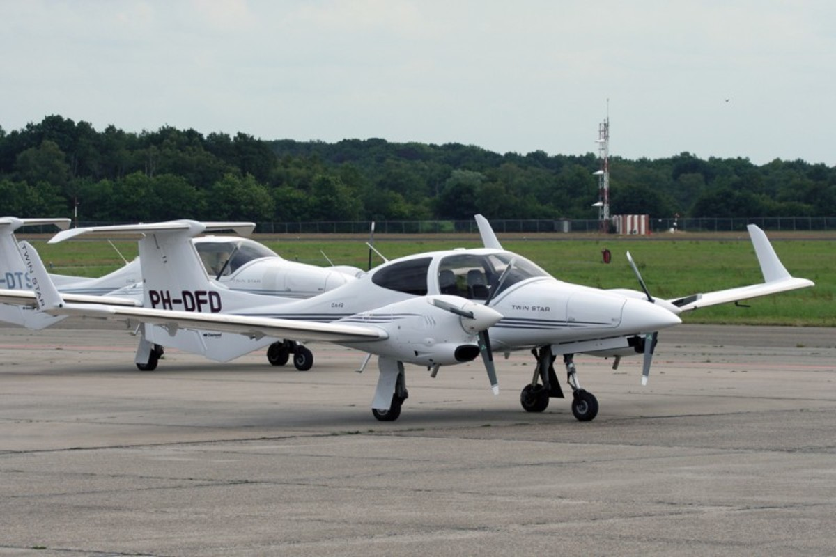 Diamond DA42 Twin Star is a four seat, twin engine, propeller-driven airplane manufactured by Diamond Aircraft Industries. Its airframe is made largely of composite materials.