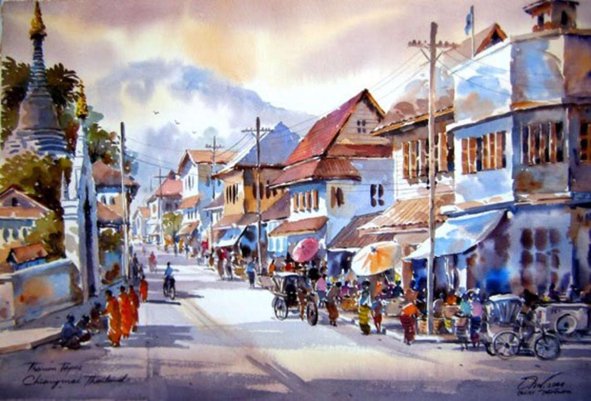 Market Watercolor Painting