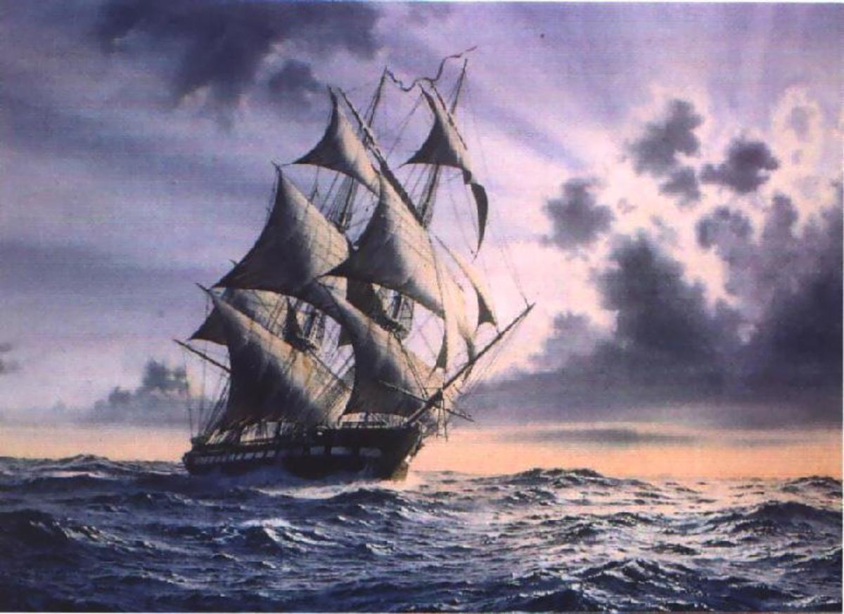 Watercolor Painting of the the USS Constitution