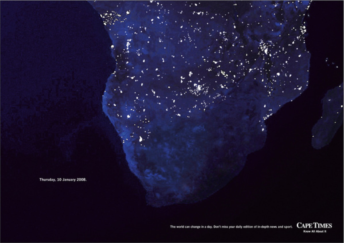 South Africa faces an electricity crisis, with a severe shortage of supply and sprawling blackouts due to 'load-shedding'. This ad made commentary on this problem when the blackouts began in January 2008.