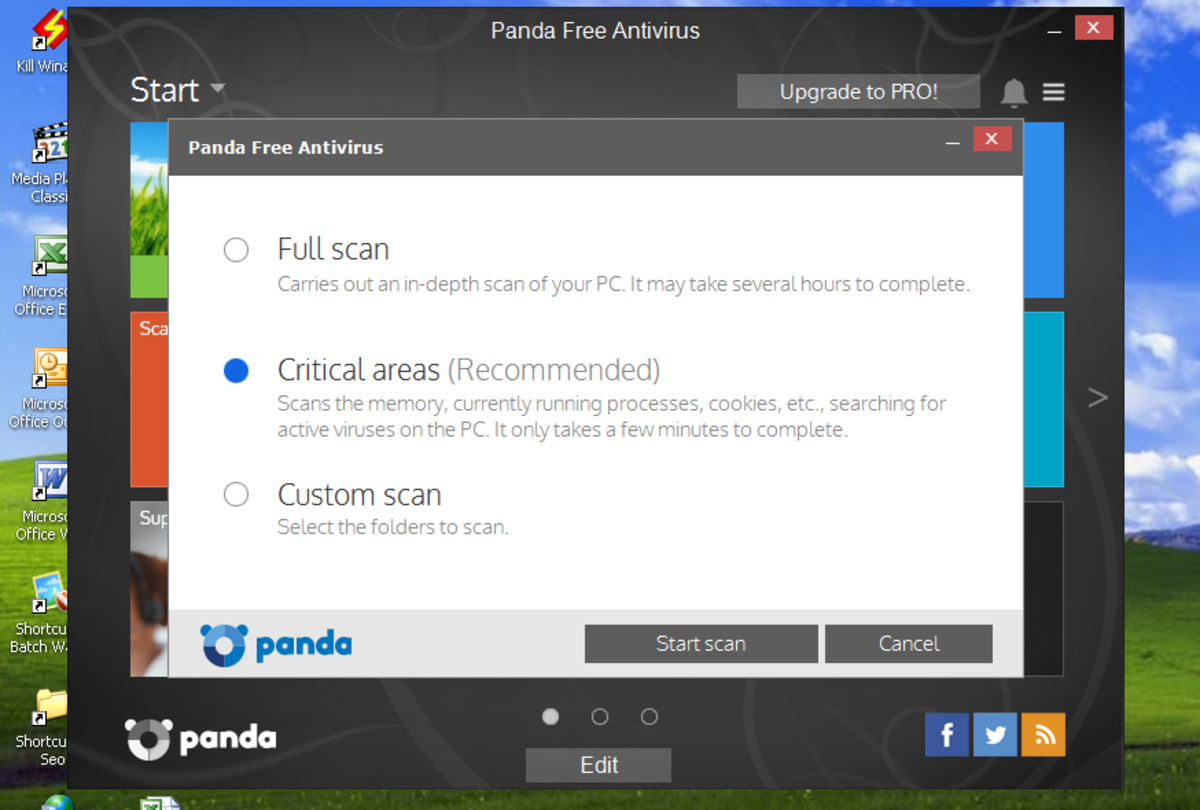 Panda cloud antivirus scan tab