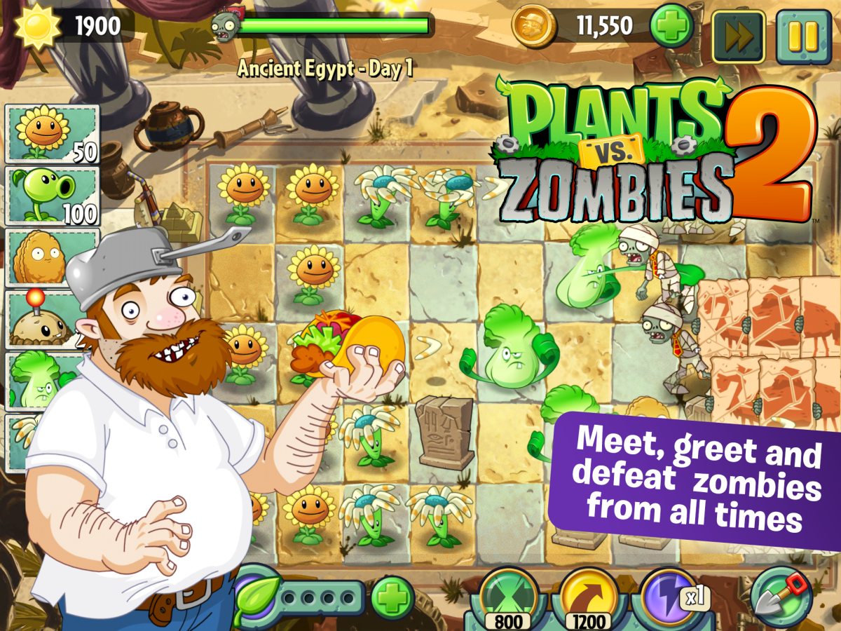Crazy Dave and various plants/zombies