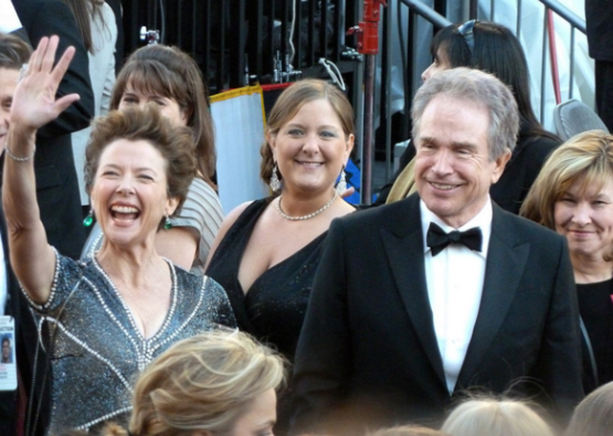 "Annette and Warren at the 2010 Academy Awards. She was nominated as Best Actress for ""The Kids Are Alright."""