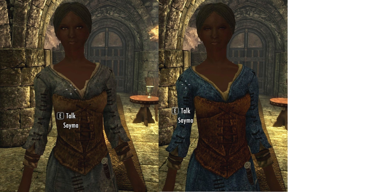A waitress in Skyrim before installing  the Improved NPC Clothing mod (left) by BaronDavid and afterwards (right) to illustrate the improvements. Picture courtesy of Skyrim Nexus, Bethesda and Zenimax.