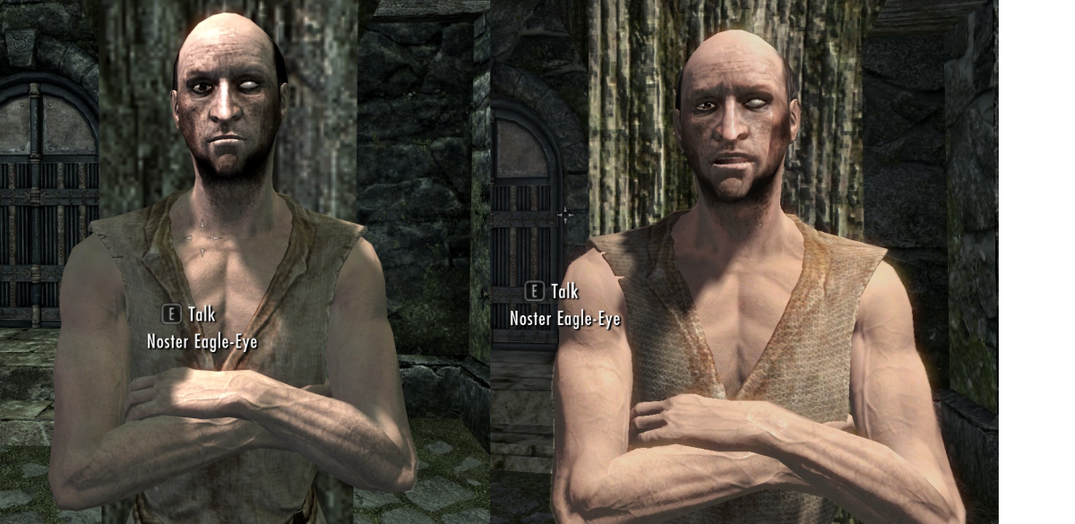 A beggar in Skyrim before installing  the Improved NPC Clothing mod by BaronDavid (left)  and afterwards (right) to illustrate the improvements. Picture courtesy of Skyrim Nexus, Bethesda and Zenimax.