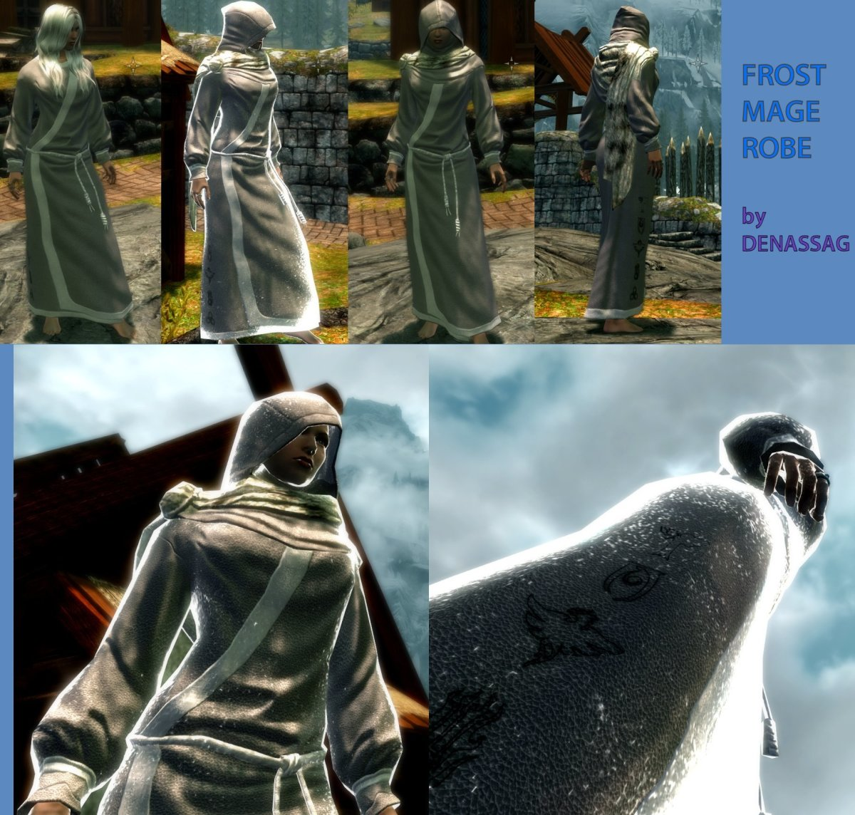 Beautiful Frost Mage robe replacer by DenassaG, an excellent Skyrim clothing mod.