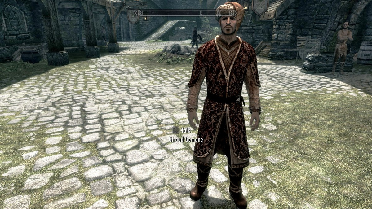 Example of an NPC wearing clothing improved by the Elaborate Textiles mod for Skyrim. Picture courtesy of Skyrim Nexus, Bethesda and Zenimax.