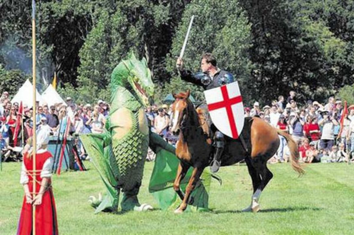 Saint George saving the maiden from the dragon, from Coventry's Saint George's Day festival.