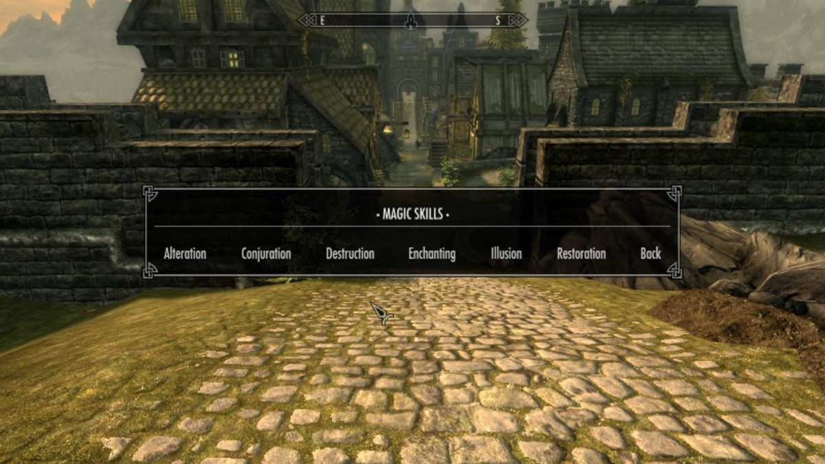 Examples of magic major skills that a characters can choose while creating a custom class using the Character Creation Overhaul mod by Syclonix. Picture courtesy of Skyrim Nexus, Bethesda and Zenimax.