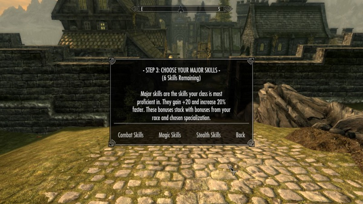 Choosing major skills as part of your Skyrim character specialisation using the Character Creation Overhaul mod by Syclonix. Picture courtesy of Skyrim Nexus, Bethesda and Zenimax.