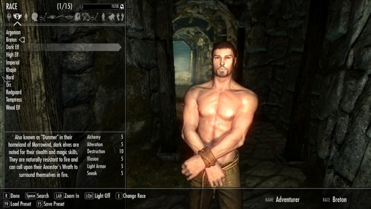Skyrim character creation showing information about the currently selected race (added by installing the Race Menu mod). Picture courtesy of Skyrim Nexus, Bethesda and Zenimax.