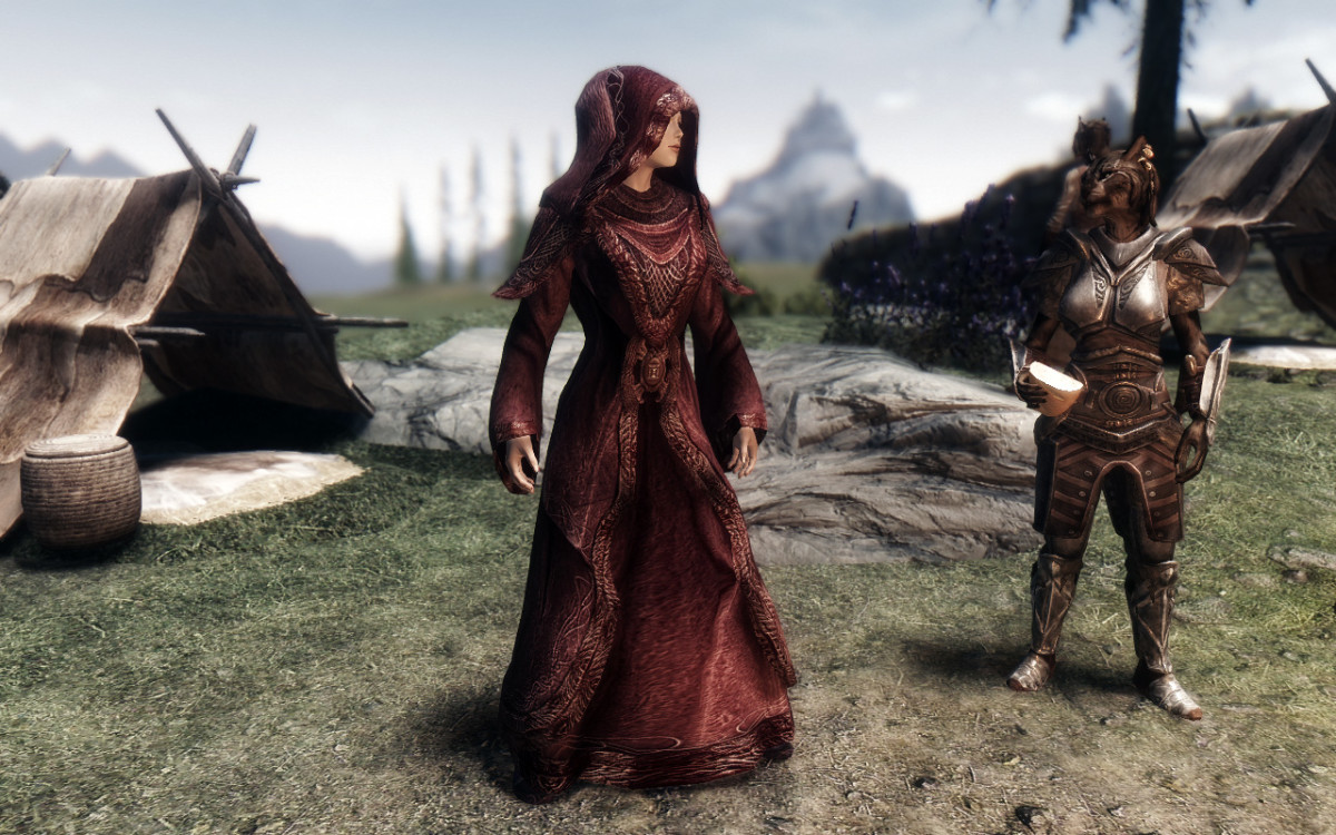 An example of a beautiful Skyrim clothing mod available to improve the look of both Player Character and NPC clothing in game.
