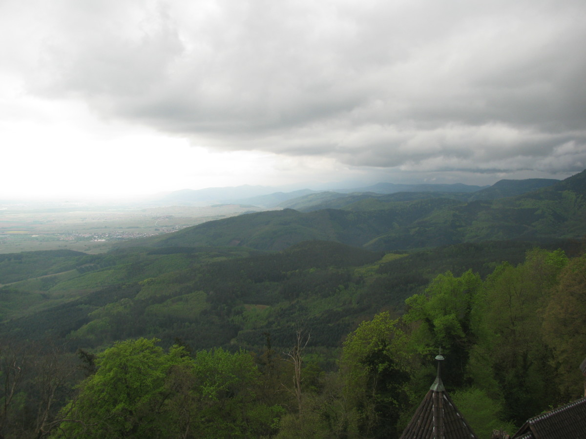 Edge of the Vosges Mountains, looking across to the Black Forest in Germany
