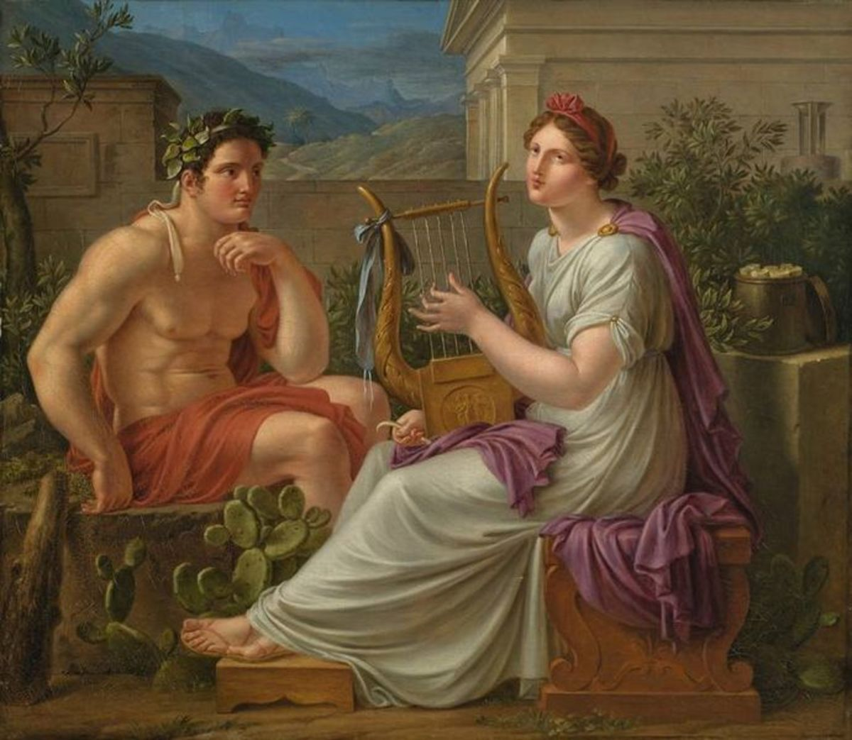 Heracles and a Muse - Eberhard von Wächter (1762–1852) - PD-art-100