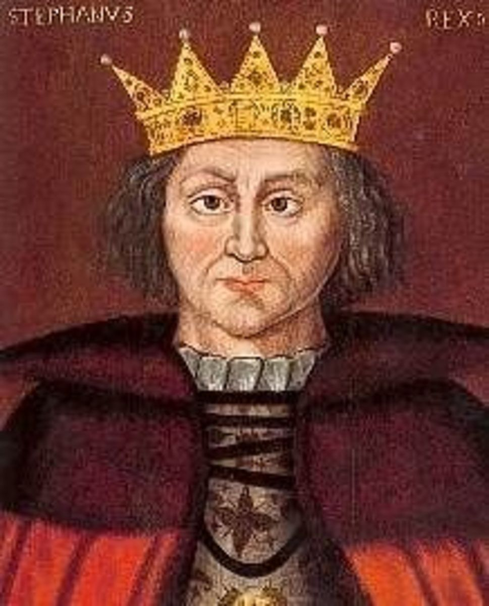 King Stephen, female line (X) Plantagenet descendent, succeeded by Matilda empress' son, Henry I.