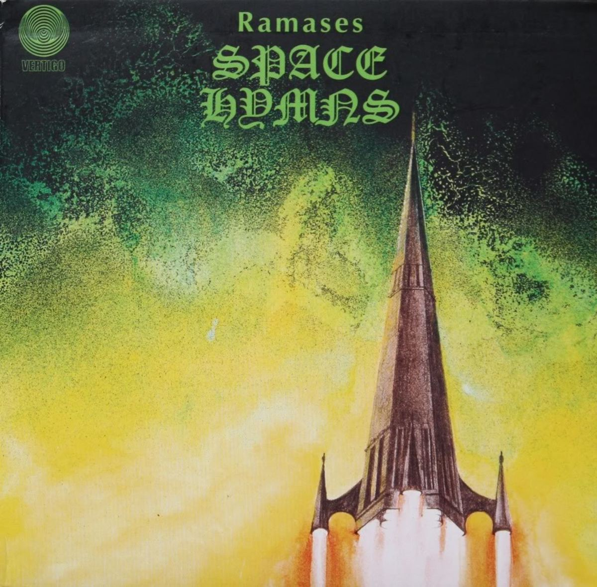 "Ramases ""Space Hymns"" Vertigo Records 6360 046 12"" LP Vinyl Record, UK Pressing (1971) Six Panel Album Cover Art & Design by Roger Dean"