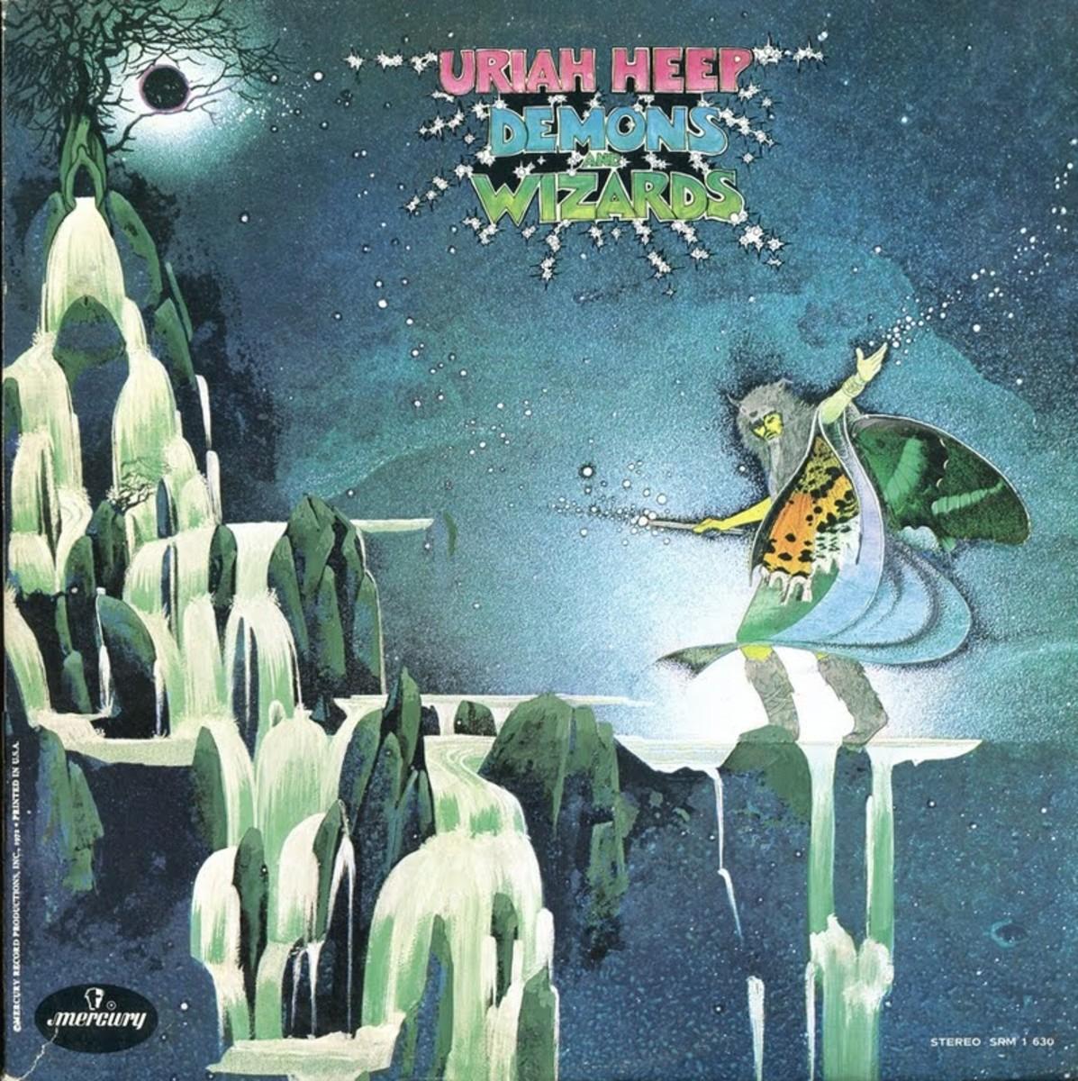 "Uriah Heep ""Demons and Wizards"" Mercury Records SRM-1-630 2-12"" LP Vinyl Record, Set US Pressing (1972) Gatefold Album Cover Art by Roger Dean"