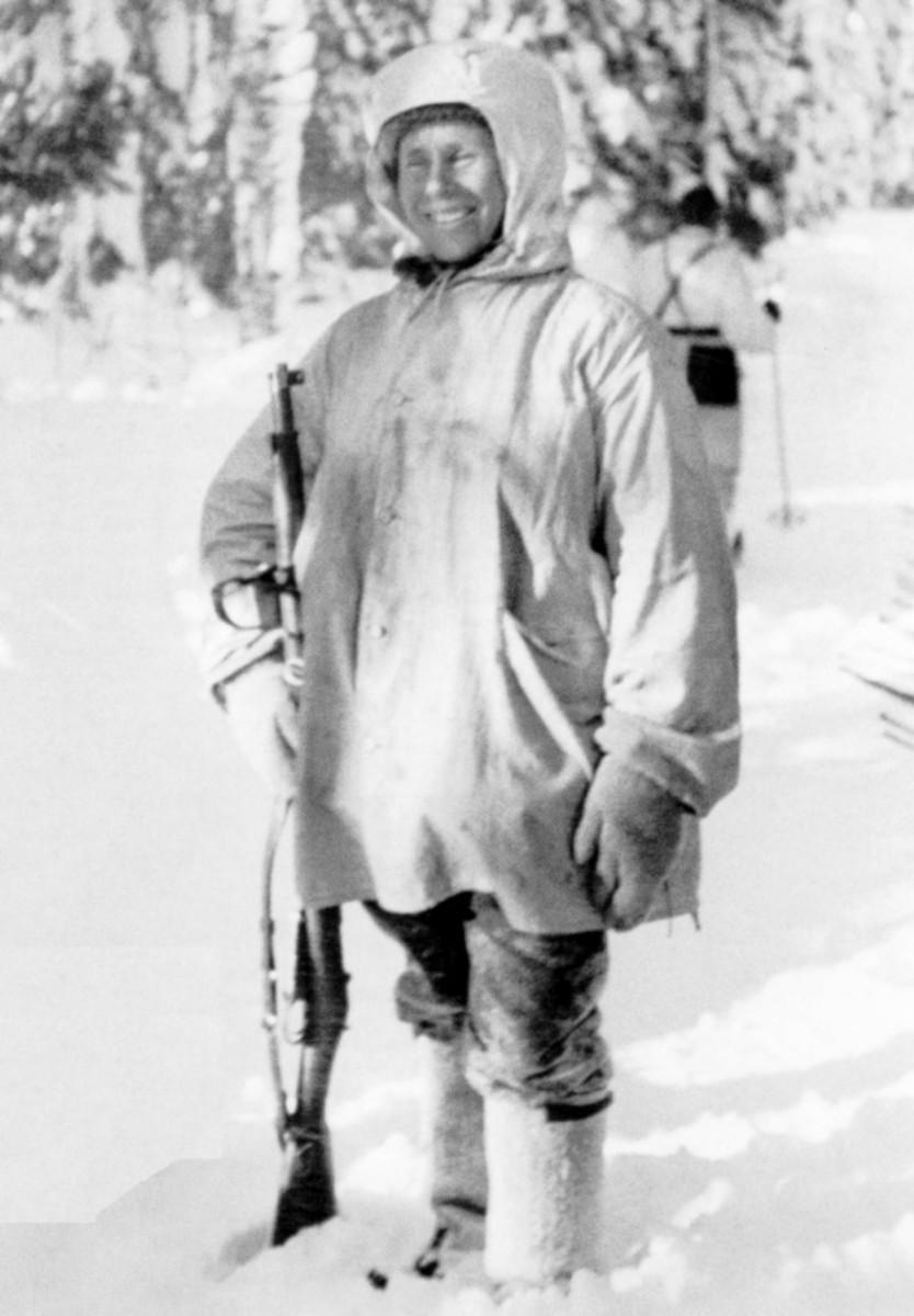 Hayha with his Mosin-Nagant rifle