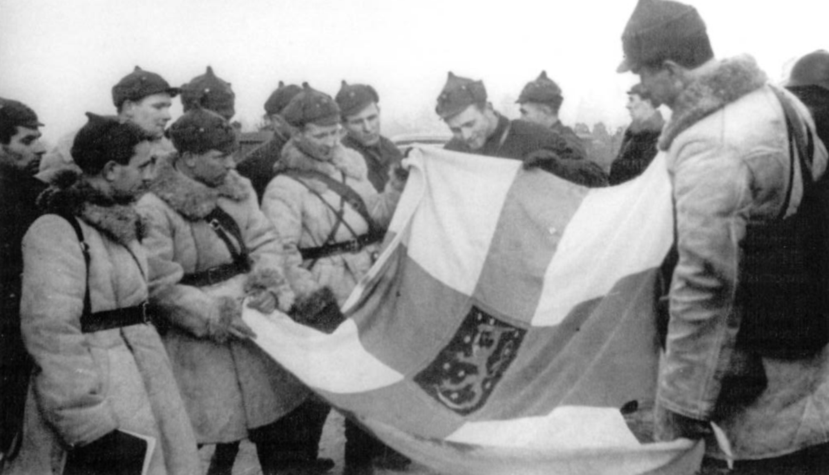 Russians with a captured Finnish Flag