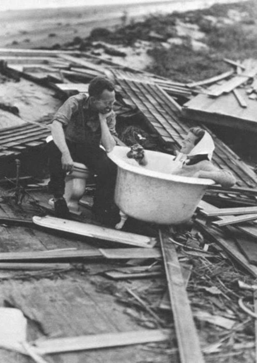 Kate Hepburn sitting in a tub after the Great New England Hurricane of 1938
