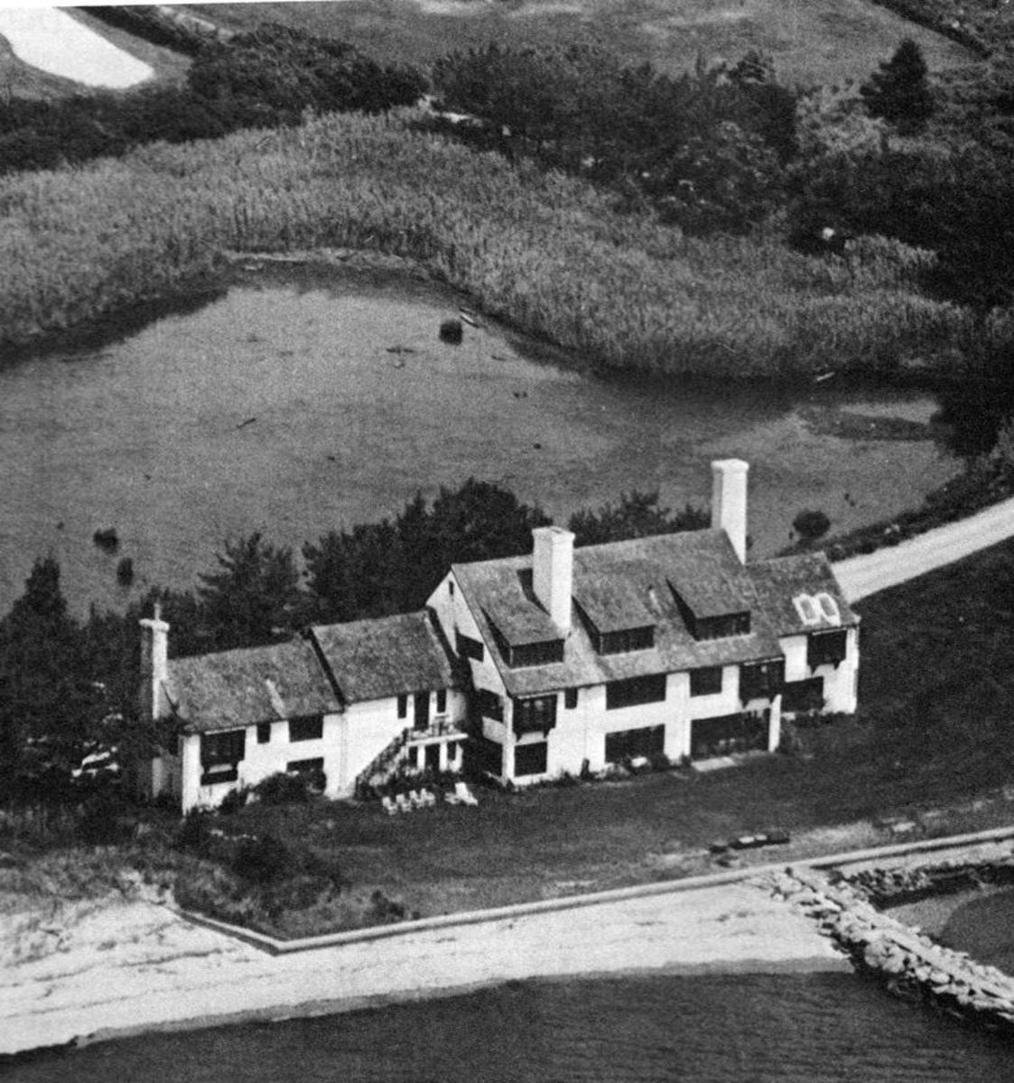 The original beach home of the Hepburn family at Fenwick in Old Saybrook, CT. It was completely destroyed in the 1938 hurricane.