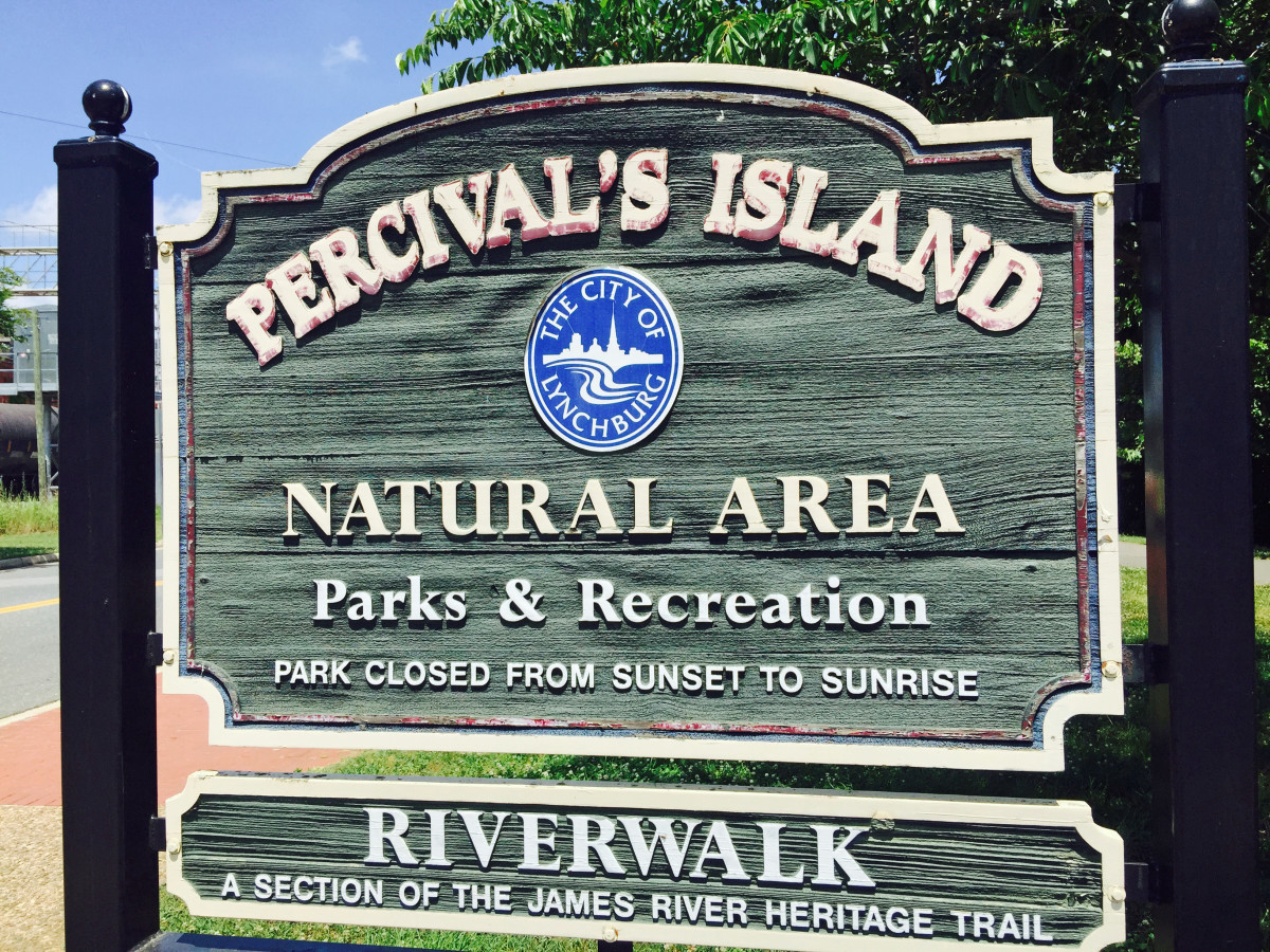 The sign at the entrance to the Percival's Island section of the Riverwalk