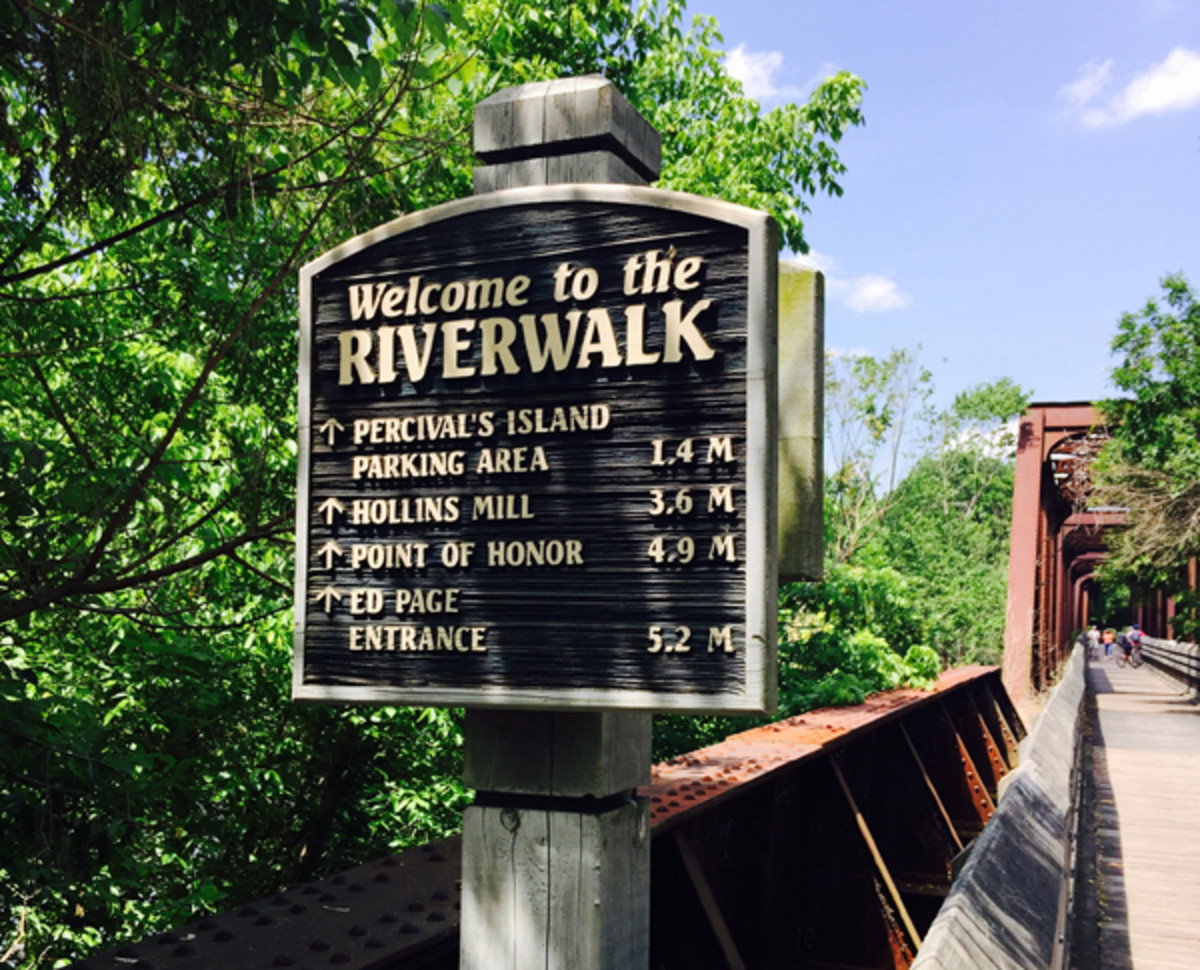 One of the many informational signs along the Riverwalk