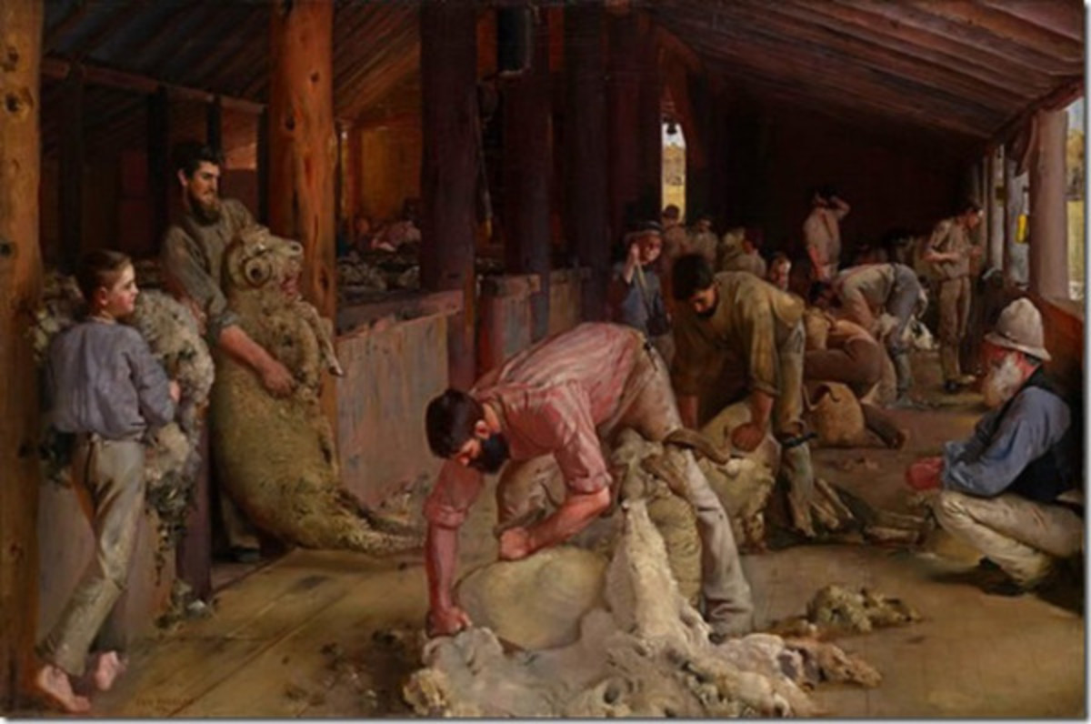"Tom Roberts- ""Shearing the Rams"" (The Gun Shearer in the foreground)"