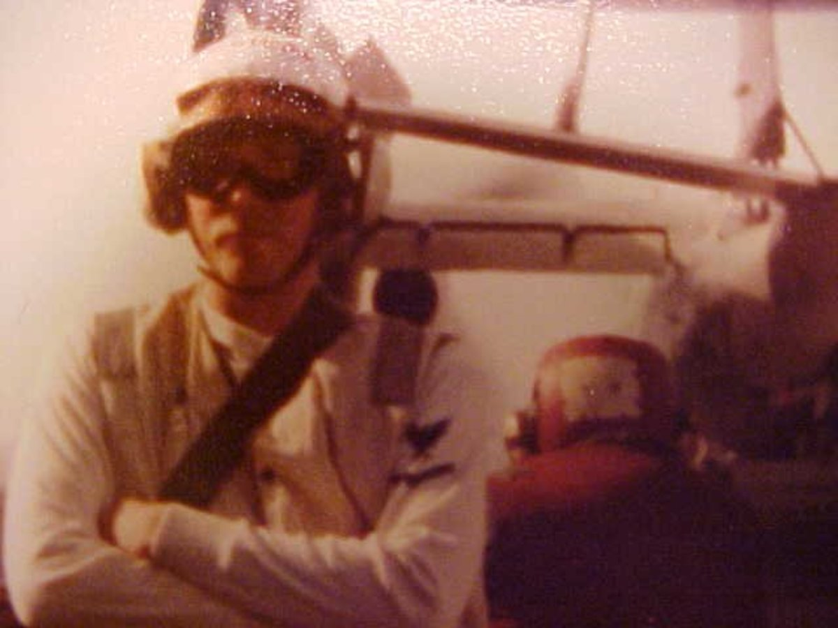 The author on board the aircraft carrier USS Ranger CV-61 on the flight deck