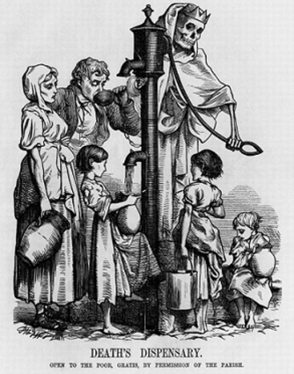 1855 illustration representing the lethal threat of cholera through water pumps.