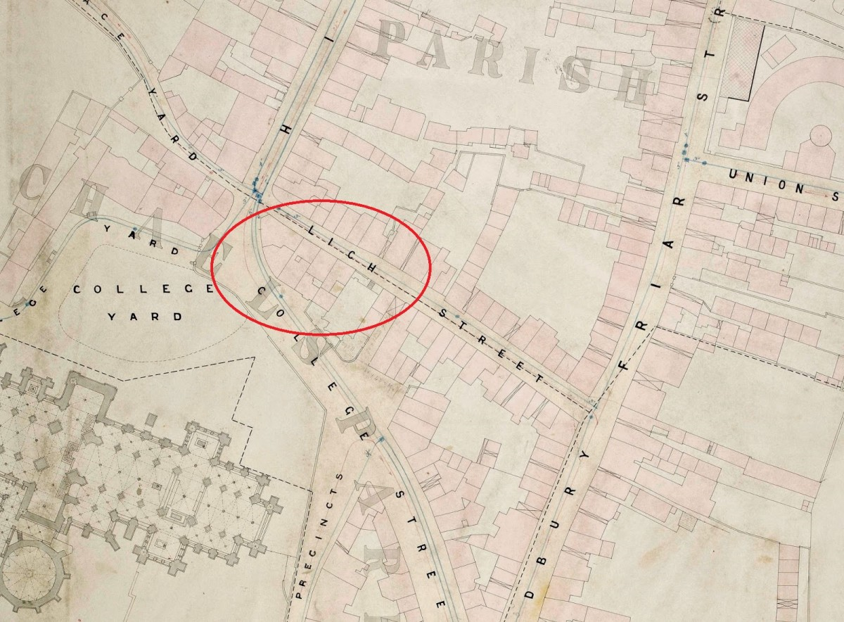 1870 Board of Health street plan, with the Lich Street dig area highlighted [1].
