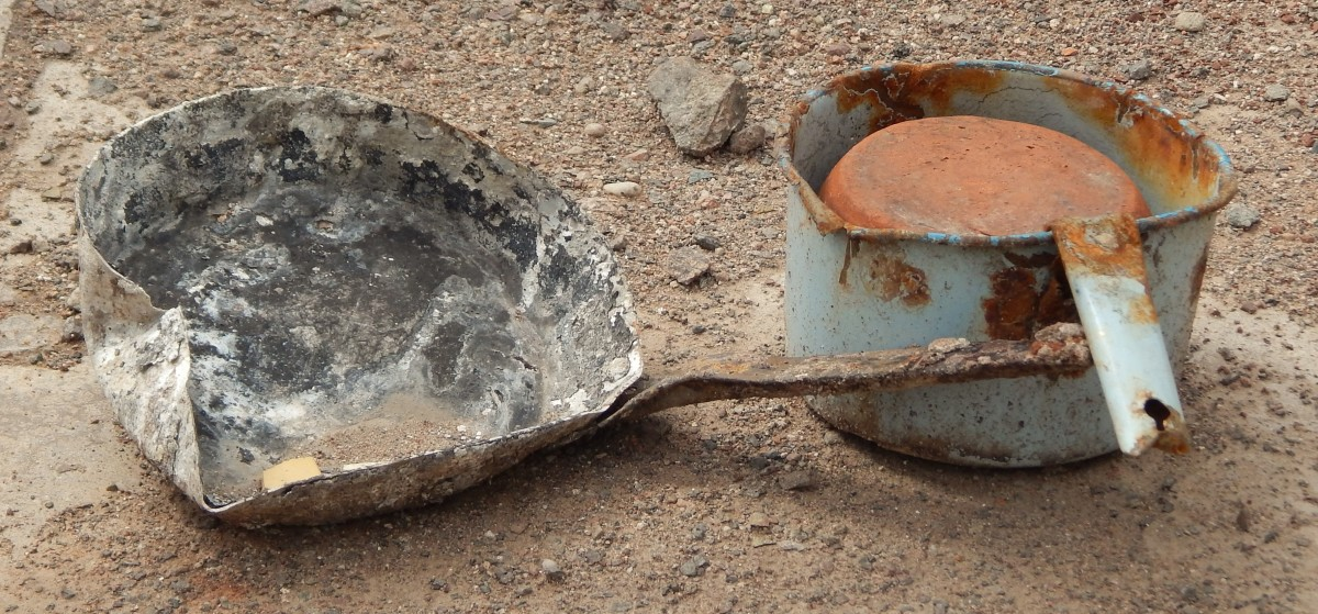 20th Century pots and pans left in the buildings when they were demolished.