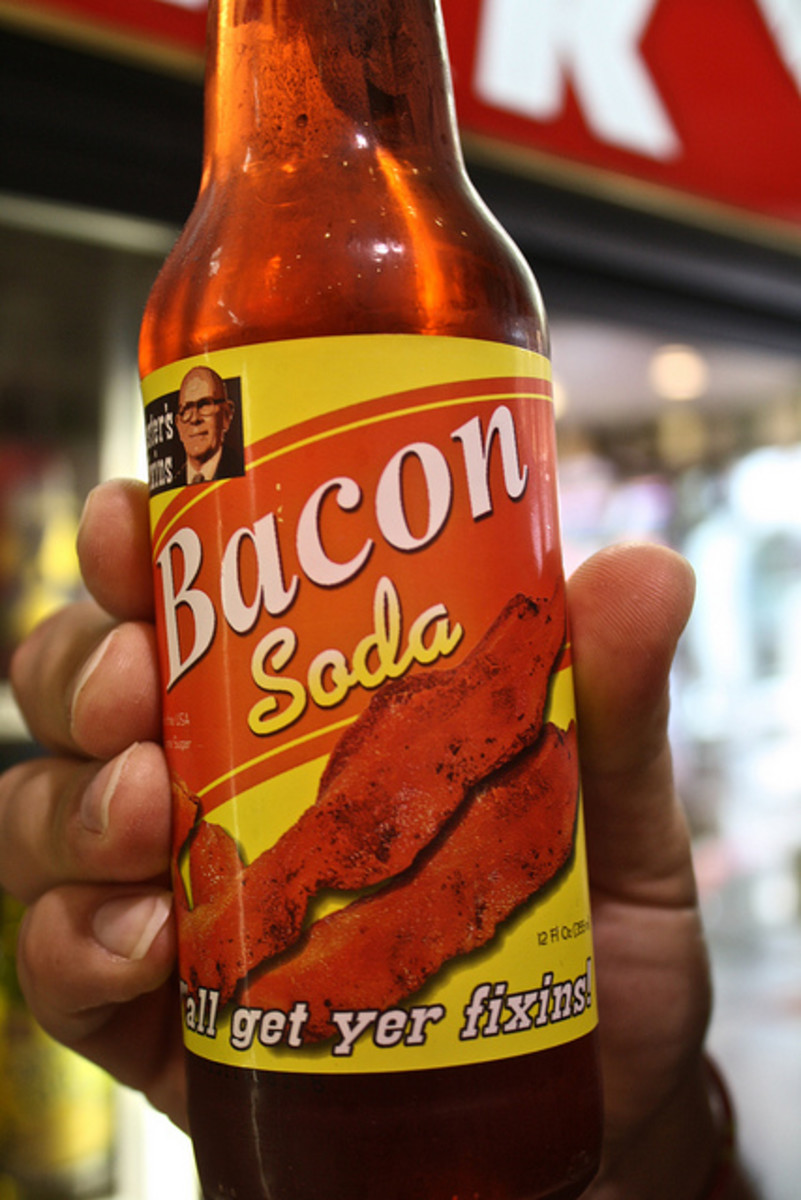 Bacon soda (Image by Monica) is a little sweet carbonated drink that tastes like bacon.